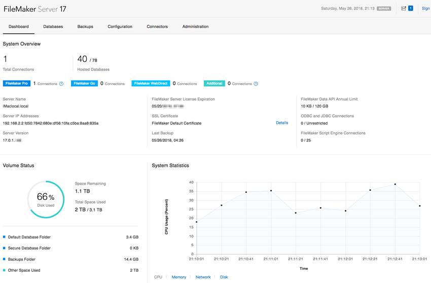 全新設計FileMaker Server Admin Console管理畫面