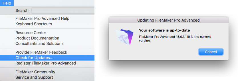 FileMaker Pro updates from Help menu online
