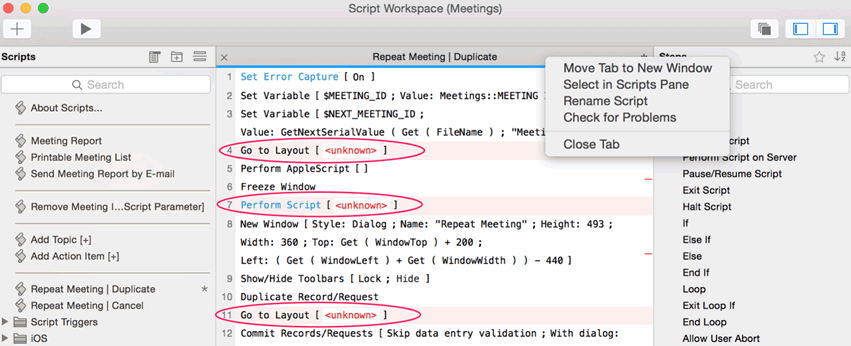 Red highlighted text helps you easily identify problem areas in the Script Workspace